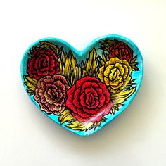 Heart Dish Ceramic Painted Colorful Roses Flowers Folk Art Jewelry... ($36) ❤ liked on Polyvore featuring home, home decor, colorful home decor, ceramic dish, colorful dishes, green home decor and rose dishes
