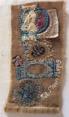 April . Ann Stephens Hand stitching on nat. dyed wool.