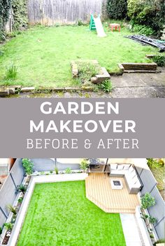 Before and after of our garden makeover. How we're making the most of our small garden. Modern back garden makeover, before and after. Back Garden Design, Modern Garden Design, Backyard Garden Design, Garden Makeover, Backyard Makeover, Small Backyard Landscaping, Backyard Patio, Backyard Ideas, Small Back Gardens