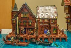https://flic.kr/p/tTH4zU | Lake-Town | Here are shots of the ArchLUG collaborative build of Lake-Town, as displayed at the Brick and Toy Fair in Ferndale, WA on May 16th, 2015.