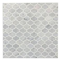 White Thassos and Bianco Carrara Marble Waterjet Mosaic Tile in Arabesque Marrakech Marrakech, Kitchen Design Open, Creta, Bathroom Floor Tiles, Marble Bathrooms, Hall Bathroom, Italian Marble, Carrara Marble, Calacatta Gold