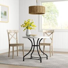Ebern Designs Atmore Pedestal Dining Table | Wayfair Round Table And Chairs, Trestle Dining Tables, Pedestal Dining Table, Round Dining Table, Dining Bench, Dining Chairs, White Marble, French Industrial, Black Pipe