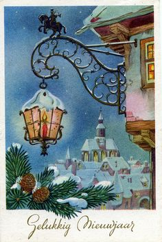 Vintage Postcard New Year Christmas Lanterns, Old Christmas, Christmas Scenes, Very Merry Christmas, Victorian Christmas, Vintage Christmas Cards, Retro Christmas, Vintage Holiday, Christmas Greeting Cards