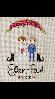 date and flowers Cross Stitch Family, Cross Stitch Art, Modern Cross Stitch, Cross Stitch Designs, Cross Stitching, Cross Stitch Embroidery, Hand Embroidery, Wedding Cross Stitch Patterns, Crochet Cross