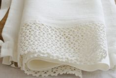 Linen tea  towel with french lace ,   pure linen , with linen bag, made by mooshop on Etsy, $20.00
