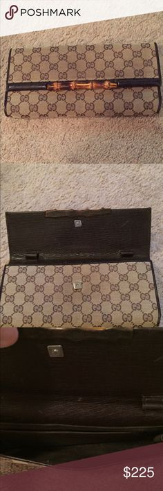 Gucci monogram clutch Horse bit brown Gucci clutch.   Great condition.  Little wear but a classic.  Used to have a long strap but I always used it as a clutch so I cannot find the strap.   Love this bag for nights out but I have too much stuff to use a small bag anymore☹️.   Discontinued bag!  Great little piece Gucci Bags Clutches & Wristlets