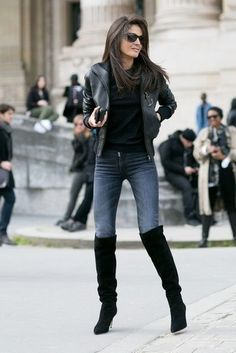 Women's Black Leather Bomber Jacket, Black Crew-neck Sweater, Charcoal Skinny Jeans, Black Suede Over The Knee Boots