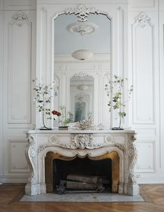 Stone Carved Marble Fireplace Mantel Surround - We are manufacturer, exporters and suppliers. Marble Fireplace Mantel, Marble Fireplaces, Fireplace Mantle, Fireplace Design, Fireplace Molding, Antique Fireplace Mantels, Fireplace Decorations, French Interior, French Decor
