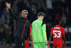"""Britain Football Soccer - Derby County v Liverpool - EFL Cup Third Round - iPro Stadium - 20/9/16 Liverpool manager Juergen Klopp waves to fans at the end of the match Reuters / Phil Noble Livepic EDITORIAL USE ONLY. No use with unauthorized audio, video, data, fixture lists, club/league logos or """"live"""" services. Online in-match use limited to 45 images, no video emulation. No use in betting, games or single club/league/player publications. Please conta..."""