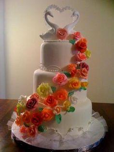 colorful wedding cakes | colorful swans wedding cake