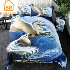 Flying Unicorn Bedding Set limited edition custom product created by Bright & Roomy. 3d Bedding Sets, Duvet Sets, Duvet Cover Sets, Linen Bedding, Custom Bedding, Animal Print Bedding, Animal Prints, Bed Covers, Pillow Covers