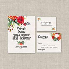 Garden Wedding Invitation Suite DEPOSIT DIY Rustic Boho