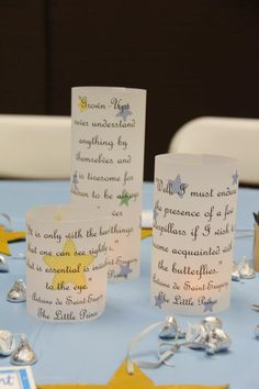 Little prince centerpieces, luminaries Prince Birthday Party, Birthday For Him, First Birthday Parties, First Birthdays, Little Prince Party, The Little Prince, Baptism Party, Baby Party, Birthday Centerpieces