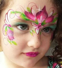 Lovely pink flower crown Anna face paint.