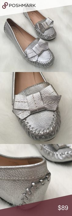 Kate Spade Metallic Silver Moccasins, Size 6.5 Authentic Kate Spade moccasins. Thick soles make for comfortable walking. Very gently worn, great condition. Size 6.5. kate spade Shoes Moccasins