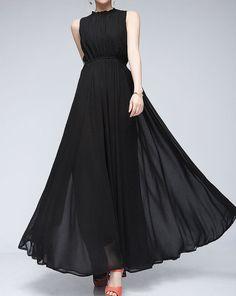 Black chiffon dress maxi dress evening dress beach long dress sundress summer shirt tunic dress casual dress plus size skirt party skirt on Etsy, $65.00