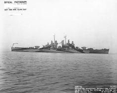 USS Montpelier at Mare Island Navy Yard, California, United States following overhaul, 18 Oct 1944, photo 2 of 2; note camouflage Measure 32, Design 11a.