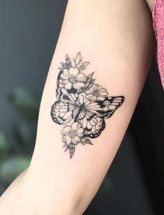 101 Best Sunflower Tattoo Ideas & Designs Guide) - Sunflower with Butterfly Tattoo – Best Sunflower Tattoos: Cute Sunflower Tattoo Designs and Ideas - Wrist Tattoos, Foot Tattoos, Body Art Tattoos, Small Tattoos, Girl Tattoos, Sleeve Tattoos, Tattos, Tattoos For Women Flowers, Best Tattoos For Women