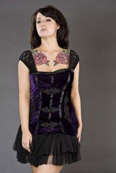 Elizabeth gothic top in purple velvet