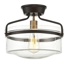 Filament Design Oiled Rubbed Bronze with Brass Accents Semi-Flush Mount - The Home Depot Hall Lighting, Semi Flush Lighting, Semi Flush Ceiling Lights, Ceiling Light Fixtures, Lighting Ideas, Ceiling Lighting, Entryway Lighting, Bedroom Lighting, Ceiling Fans