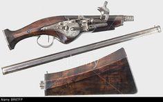 A French wheellock pistol-carbine, circa 1640.