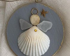 Coastal angel/shell angel /seaglass angel /shell ornament/beach ornament /beach wedding gift/Coastal Christmas/seaglass ornament/seaglassart