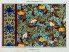 L'animal Dans la Décoration,1897, Corbeaux, bordure au pochoir; cigales et chardons, étoffe imprimée; Maurice Pillard Verneuil.