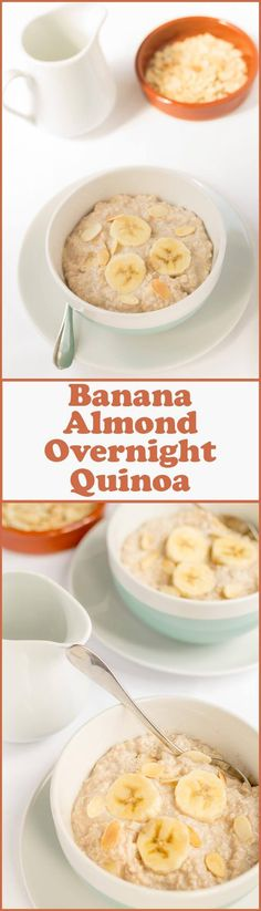 Banana almond overnight quinoa is a really quick, easy and delicious bowl of nutrition to get you started first thing in the morning. It's great waking up and knowing your day starts with this. Especially because it's pre-made!