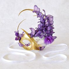 Venetian Mask Purple and Pink with Butterflies - Midsummer Fairy Masquerade, Mardi Gras, Cosplay, Bridal Mask, Halloween via Etsy