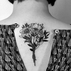 Blackwork floral bouquet on back by Oozy