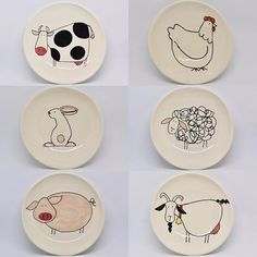 Little Rabbit Cake Dessert Plate Disc Ceramic Bone China Creative Children's Lovely Small Bone Plate Western Food Steak Pottery Bowls, Ceramic Bowls, Ceramic Pottery, Pottery Barn, Pottery Painting Designs, Pottery Designs, Pottery Ideas, Ceramic Painting, Ceramic Art