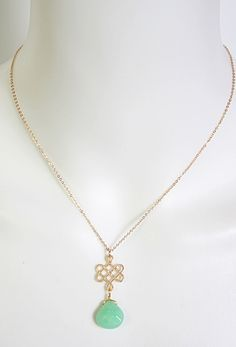 """16"""" Gold Necklace w/Small Love Knot & Stone Drop"""