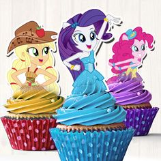 My Little Pony Equestria Girls Cupcake Toppers by FancyPapersJC