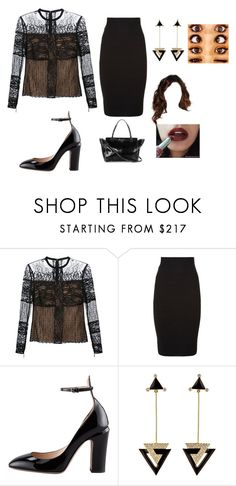 """Untitled #2876"" by sam12356 ❤ liked on Polyvore featuring Elie Saab, BCBGMAXAZRIA, Valentino, Maybelline and Hanut Singh"