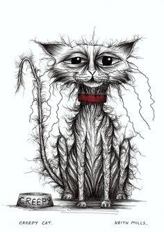 Creepy cat Scarey strange weird looking kitty - Keith Mills