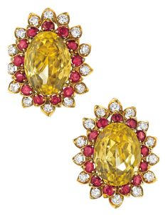 I bet you can tell from the color combination of these gold, ruby, citrine and diamond earrings that they& retro. They& by David Webb and date to the (Via Phillips. Yellow Jewelry, I Love Jewelry, Fine Jewelry, Jewelry Design, Jewelry Making, Jewelry Box, Diamond Tops, David Webb, Lemon Quartz