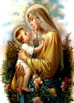 Our Lady and Jesus Mother Mary Images, Images Of Mary, Blessed Mother Mary, Blessed Virgin Mary, Mary Jesus Mother, Catholic Art, Religious Art, Catholic Quotes, Sainte Marie
