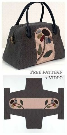 DIY One-piece Fabric Quilt Bag Free Sewing Pattern + Vide .- DIY einteilige Stoff Quilt Tasche Free Sewing Pattern + Video, … DIY One Piece Fabric Quilt Bag Free Sewing Pattern + Video, - Bag Sewing Pattern, Leather Bag Pattern, Bag Patterns To Sew, Sewing Patterns Free, Free Sewing, Free Pattern, Sewing Diy, Quilt Patterns, Pattern Fabric