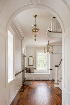 Colonial Revival Farmhouse in Pennsylvania traditional stair hall entry Foyer Staircase Architectural Detail Colonial American Farmhouse by Period Architecture Style At Home, Dream Home Design, My Dream Home, House Design, Interior Exterior, Home Interior Design, Farmhouse Stairs, Farmhouse Rugs, White Farmhouse