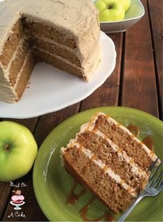 You start with a spice cake mix, and add apple cider and applesauce. No oil or butter involved!  Then you top it with delicious apple butter frosting.