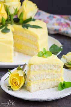 Every bite of this Lemon Layer Cake with Lemon Curd and Lemon Buttercream bursts with lemon flavor. A wonderfully moist lemon cake is layered with velvety smooth lemon curd and frosted with fresh lemon buttercream. Lemon Desserts, Lemon Recipes, Mini Desserts, Just Desserts, Baking Recipes, Delicious Desserts, Dessert Recipes, Drink Recipes, Yummy Food