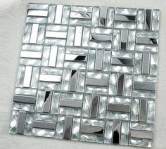 Glass mosaic kitchen backsplash tile stainless steel glass mosaic tiles for swimming pool SSMT080 crystal white glass mosaics