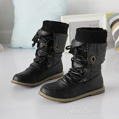 Sexy Black Lace-up Comfortable Flat Boots