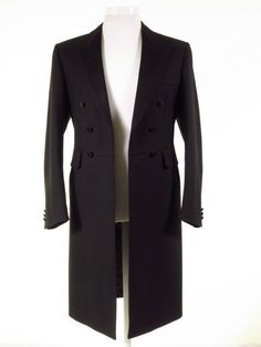 Magee Ex-Hire Frock Coat - Black Herringbone Wool Mens Frock Coat Men Formal, Formal Wear, Wedding Frocks, Morning Suits, Frock Coat, Long Coats, Coat Sale, Black Wool, Victorian Fashion