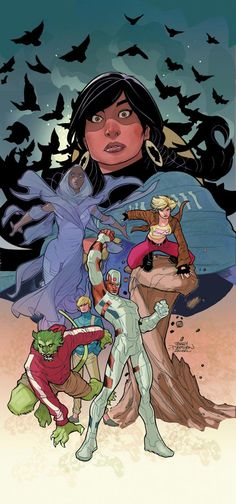 Cover for Teen Titans: Earth One  Roster of Cyborg, Changeling (aka Beast Boy), Starfire, Raven, and Jericho.
