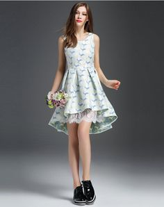 c433114cce  AdoreWe  VIPme Skater Dresses - AIYUBELLA Deer Silk Jacquard Lace Flare  Mini Dress -
