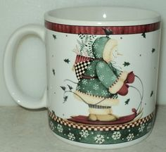 Sakura Debbie Mumm Sledding Characters Snowman Christmas Holiday Coffee Cup Mug ~ This Item is for sale at LB General Store http://stores.ebay.com/LB-General-Store ~Free Domestic Shipping ~