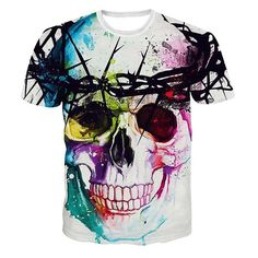 10.09$  Watch here - http://di7b1.justgood.pw/go.php?t=172606004 - Mix Color Round Neck Skull Pattern Short Sleeve Men's T-Shirt