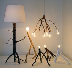 Pendant as well as floor standing lamps made from tree branches, hand picked directly from the Swedish forest. Displayed at solo exhibition in Norrköping, Galleri Plankgatan.