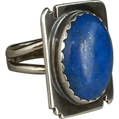 #JewelrySale SIGNED Vintage Native American Ring LAPIS Lazuli Sterling Silver CLARENCE BAILON 12.7 Grams Hallmarks c.1980's!